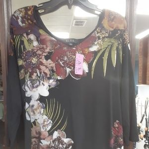 Tops - Black with flowers top